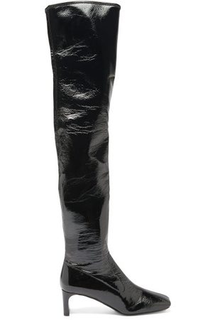 Prada Square-toe Patent-leather Over-the-knee Boots - Womens - Black