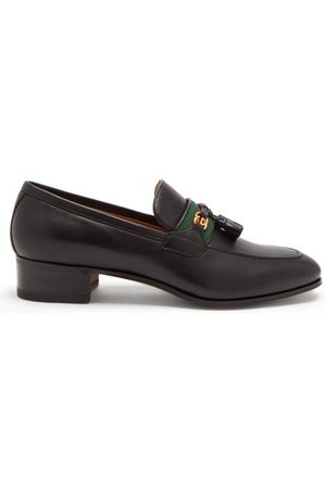 Gucci GG And Web Stripe Tasselled Leather Loafers - Womens - Black