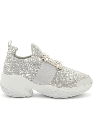 Roger Vivier Viv Run Crystal-embellished Buckled Trainers - Womens - Silver