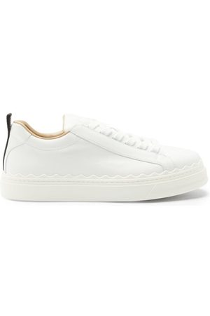 Chloé Lauren Scallop-edge Leather Trainers - Womens - White