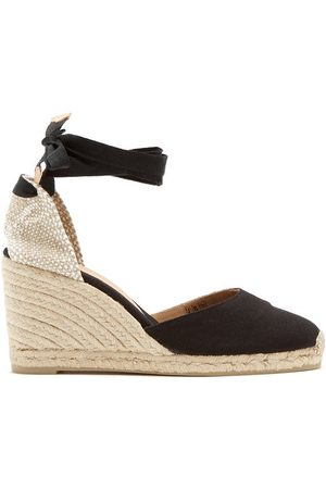 Castaner Carina 80 Canvas & Jute Espadrille Wedges - Womens - Black