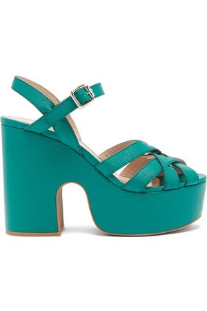 Miu Miu Crossover-strap Leather Platform Sandals - Womens - Green