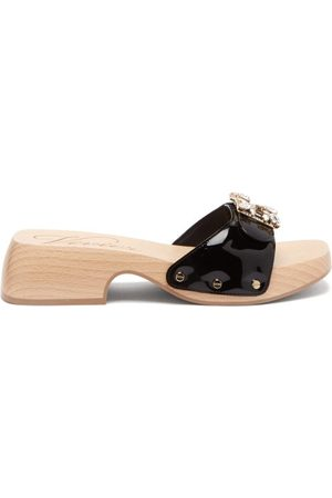 Roger Vivier Viv Patent-leather Clog Slides - Womens - Black