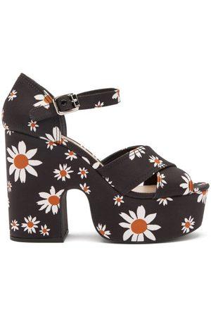 Miu Miu Dames Sandalen - Daisy-print Micro-faille Platform Sandals - Womens - Black