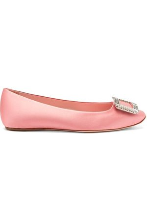 Roger Vivier Trompette Crystal-buckle Satin Ballerina Flats - Womens - Pink