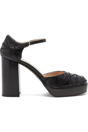 Miu Miu Mary Jane Patchwork-leather Pumps - Womens - Black