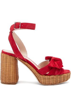 Miu Miu Bow-front Suede And Wicker Platform Sandals - Womens - Red