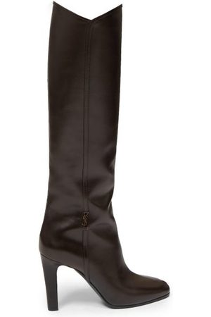 Saint Laurent Jane Knee-high Leather Boots - Womens - Dark Brown