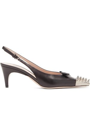 Miu Miu Dames Pumps - Spike-toe Leather Slingback Pumps - Womens - Black