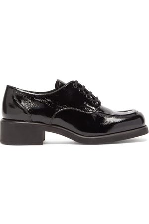 Miu Miu Square-toe Creased Patent-leather Shoes - Womens - Black