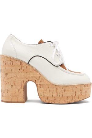 Miu Miu Grained-leather Wedge-platform Shoes - Womens - White