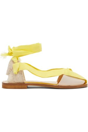 Álvaro X Thierry Colson Teresa Wrap-tie Canvas Sandals - Womens - Yellow White