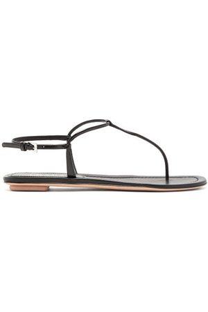 Prada Toe-post Patent-leather Sandals - Womens - Black