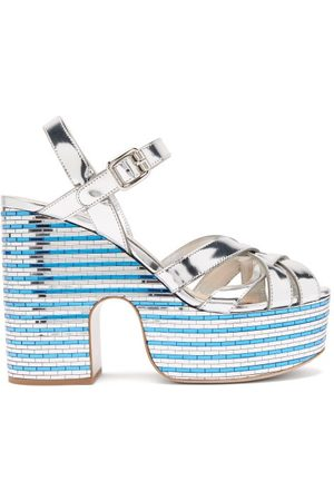 Miu Miu Crystal-embellished Leather Platform Sandals - Womens - Silver