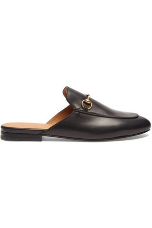 Gucci Dames Loafers - Princetown Leather Backless Loafers - Womens - Black