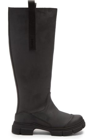 Ganni Chunky Recycled-rubber Knee-high Boots - Womens - Black