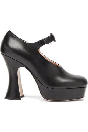 Miu Miu Curved-heel Leather Platform Mary Jane Pumps - Womens - Black