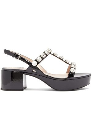 Miu Miu Crystal-embellished Patent-leather Sandals - Womens - Black