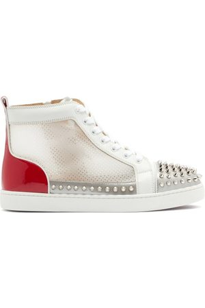 Christian Louboutin Dames Sneakers - Donna Studded Leather And Mesh High-top Trainers - Womens - White Multi