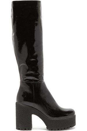 Miu Miu Patent-leather Knee-high Boots - Womens - Black