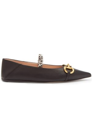 Gucci Deva Horsebit And Chain-embellished Leather Flats - Womens - Black