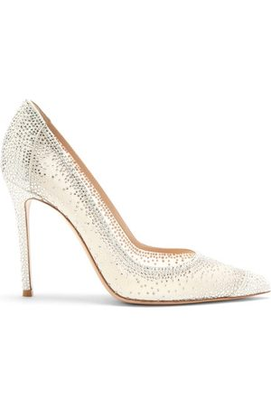 Gianvito Rossi Rania Cystal-embellished Suede Pumps - Womens - White