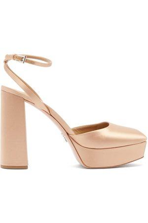 Prada Square-toe Satin Platform Pumps - Womens - Gold