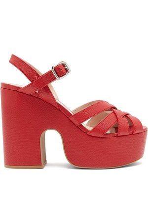 Miu Miu Crossover-strap Platform Leather Sandals - Womens - Red