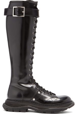 Alexander McQueen Dames Hoge laarzen - Tread Exaggerated-sole Leather Knee-high Boots - Womens - Black