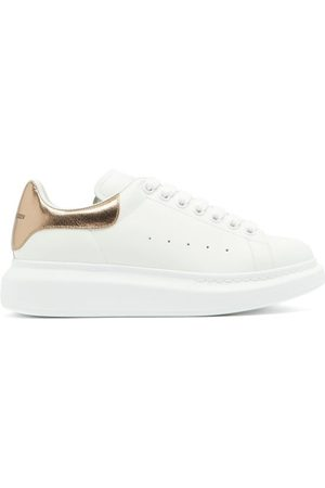 Alexander McQueen Oversized Raised-sole Leather Trainers - Womens - White Multi
