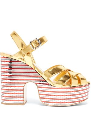 Miu Miu Mirrored-platform Metallic-leather Sandals - Womens - Gold