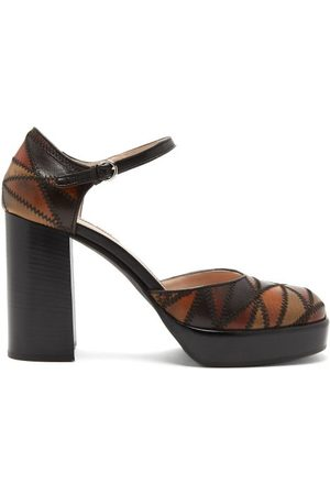 Miu Miu Mary Jane Patchwork-leather Pumps - Womens - Brown Multi
