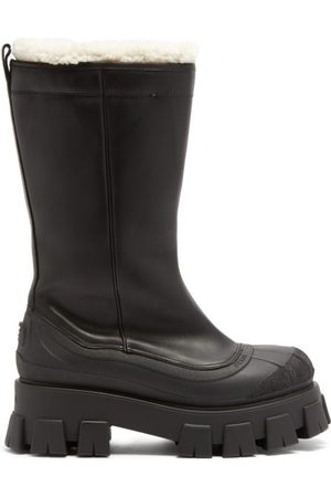 Prada Monolith Chunky-sole Leather Boots - Womens - Black