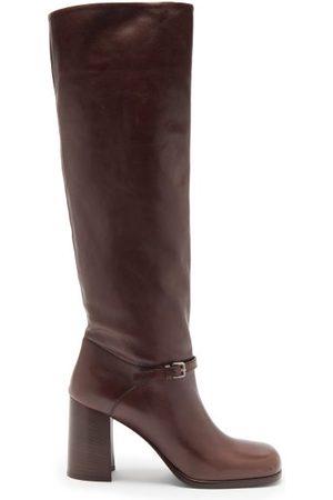 Miu Miu Square-toe Leather Knee-high Boots - Womens - Dark Brown
