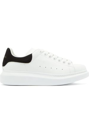 Alexander McQueen Oversized Raised-sole Leather Trainers - Womens - White Black
