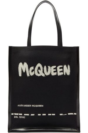 Alexander McQueen Logo-print Canvas And Leather Tote Bag - Mens - Black