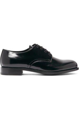 Prada Round-toe Spazzolato-leather Derby Shoes - Mens - Black