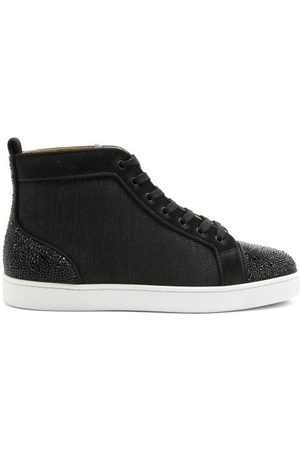 Christian Louboutin Louis P Strass Ii Canvas High-top Trainers - Mens - Black Multi