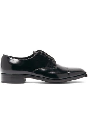 Prada Heren Veterschoenen - Spazzolato-leather Derby Shoes - Mens - Black
