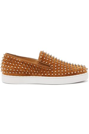 Christian Louboutin Roller-boat Spike-embellished Suede Trainers - Mens - Yellow Gold