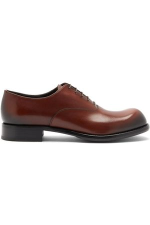Prada Cadett Leather Derby Shoes - Mens - Brown