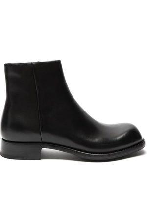 Prada Square-toe Leather Boots - Mens - Black