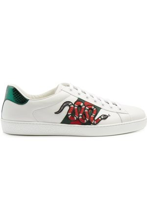 Gucci Ace Kingsnake Leather Trainers - Mens - White Multi