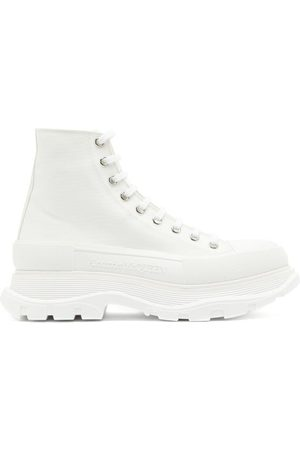 Alexander McQueen Tread Slick High-top Chunky-sole Canvas Trainers - Mens - White