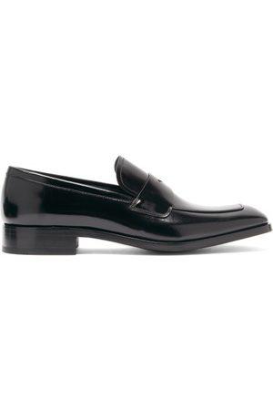 Prada Spazzolato-leather Penny Loafers - Mens - Black
