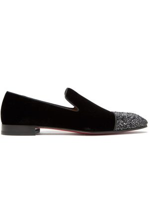 Christian Louboutin Dandelion Crystal-embellished Velvet Loafers - Mens - Black