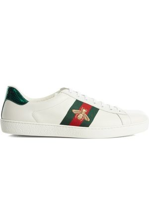 Gucci Ace Bee-embridered Leather Trainers - Mens - White Multi