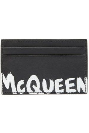 Alexander McQueen Heren Portemonnees - Logo-print Leather Cardholder - Mens - Black