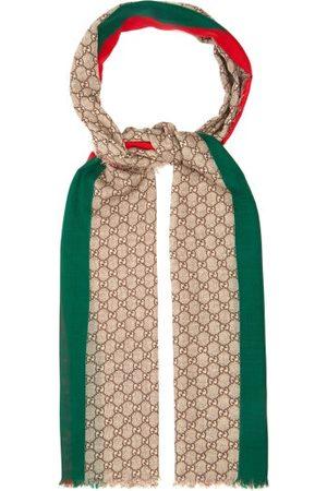 Gucci GG-print Raw-edged Wool Scarf - Mens