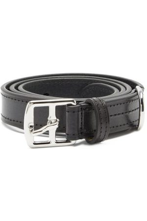 Anderson's Buckled Topstitched Leather Belt - Mens - Black
